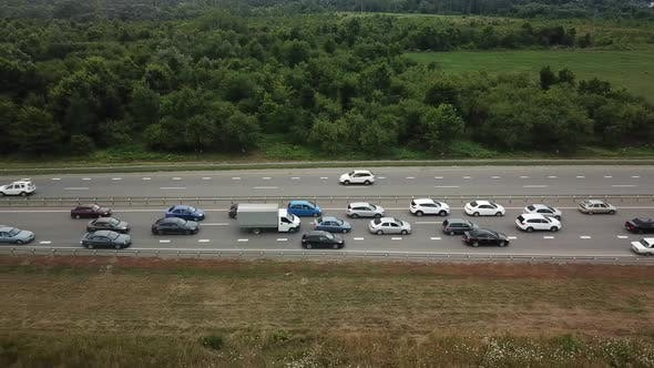 Thumbnail for Top Down View of Freeway Busy Rush Hour Heavy Traffic Jam Highway