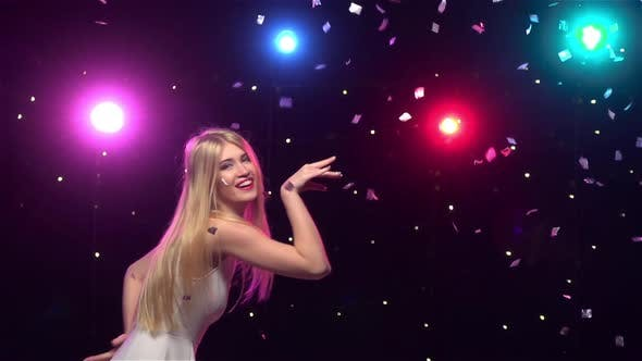 Happy Girl Are Funny Dancing Against Disco Lights, Slow Motion