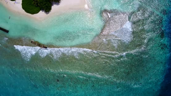 Thumbnail for Luxury fly over clean view of a sunshine white sandy paradise beach and aqua blue water background i