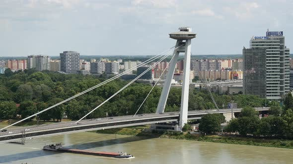 Thumbnail for Caro ship passing by the Most SNP or UFO Bridge in Bratislava