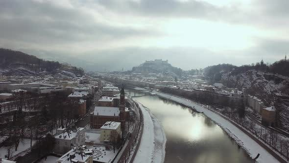 Aerial view of Salzach River during winter