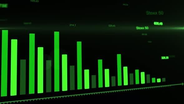 Failure diagrams of stock market. Business graphs analysis on digital display