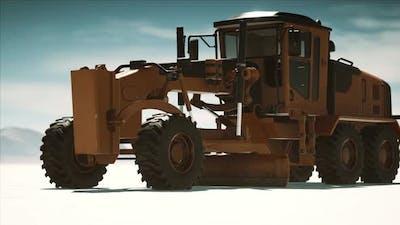 Road Grading Machine on the Salt Desert Road