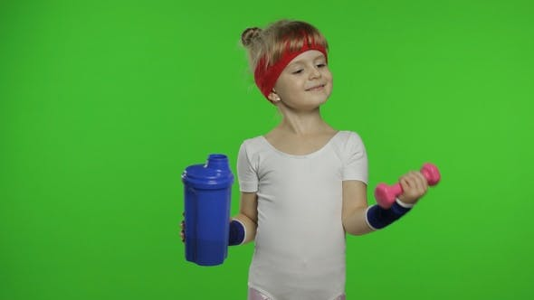 Thumbnail for Girl in Sportswear Making Fitness Exercises with Dumbbells and Drinking Water. Little Athletic Child