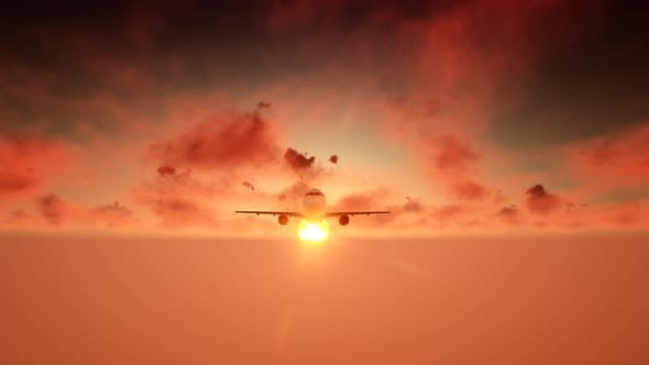Thumbnail for Aircraft with Sunset Sky and Clouds
