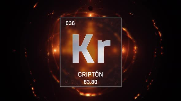 Thumbnail for Krypton as Element 36 of the Periodic Table on Orange Background in Spanish Language