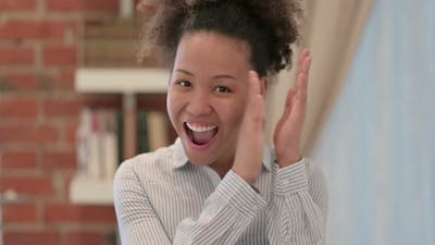 Portrait of African American Woman Clapping Applauding
