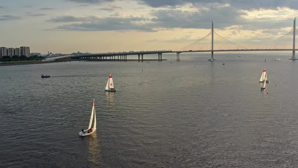 Aerial View of Cablestayed Bridge During Sunset