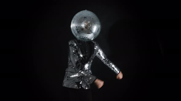 Mr Disco Ball Wearing Silver Jacket Dancing