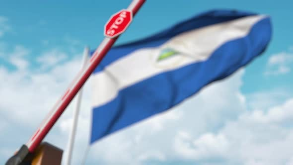 Thumbnail for Barrier Gate Being Closed with Flag of Nicaragua As a Background