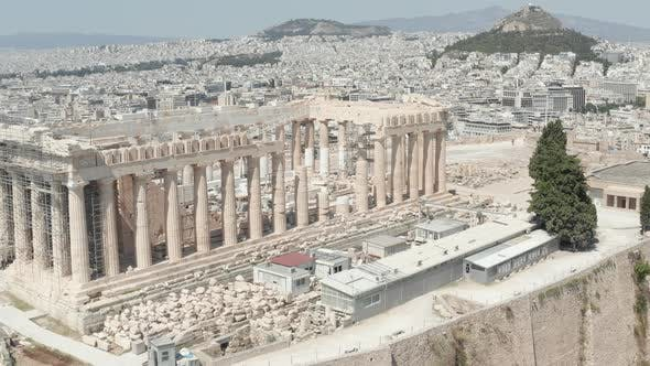Thumbnail for Close Up Aerial Flight Over Acropolis on Mountain Over Athens, Greece at Daylight