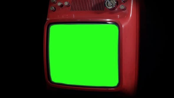 Thumbnail for Vintage TV with Green Screen and Black Background.