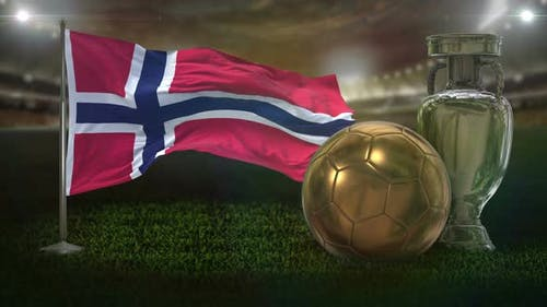 Norway Flag With Football And Cup Background Loop
