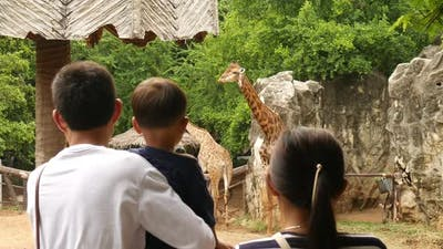 Kids and Parents at Zoo