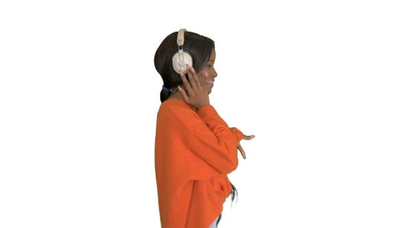 Thumbnail for Happy african woman wear wireless headphones listening
