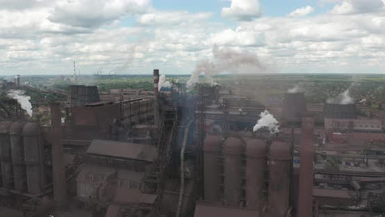 Thumbnail for Epic Aerial of Pipes with White Smoke Emission. Plant Pipes Pollute Atmosphere. Industrial Factory