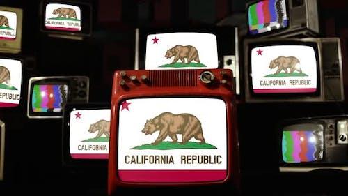 Flag of California on Retro TVs.
