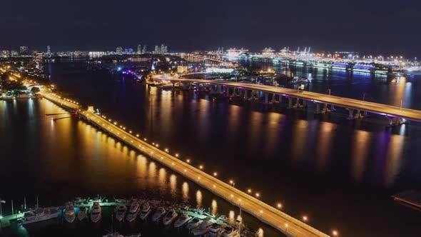 Night time lapse of traffic  to Miami Beach Florida