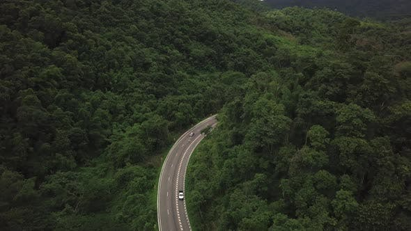 Thumbnail for Aerial View Of Countryside Road Passing Through The Mountain Landscape 05