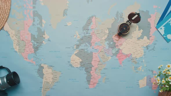 World Map With Travel Objects
