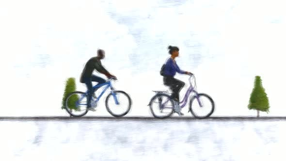 Couple on bicycles Stop Motion