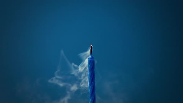 Thumbnail for Deep Blue Candle on Deep Blue Background Was Blown and Smoke Disappearing