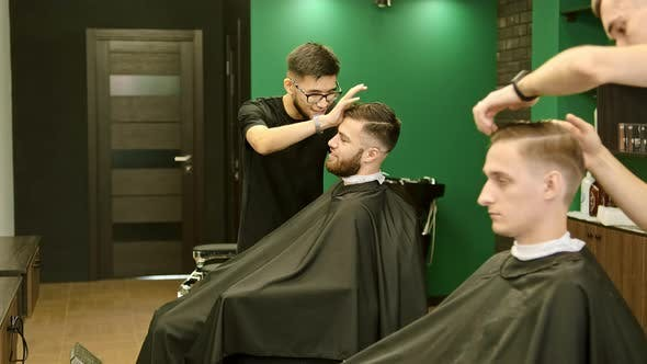 Thumbnail for Barbershop with Stylists Making Trendy Haircuts To Clients