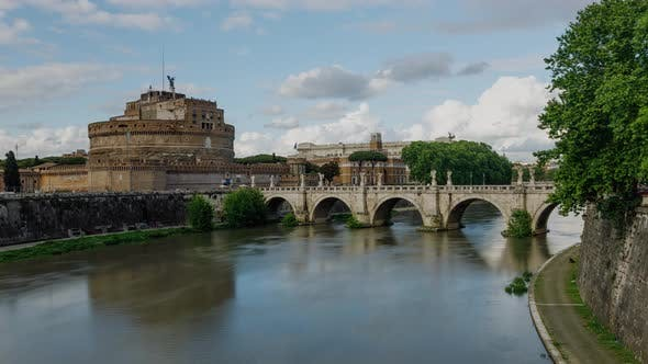 Time lapse of the St. Angelo Bridge and Castel Sant'Angelo in Rome