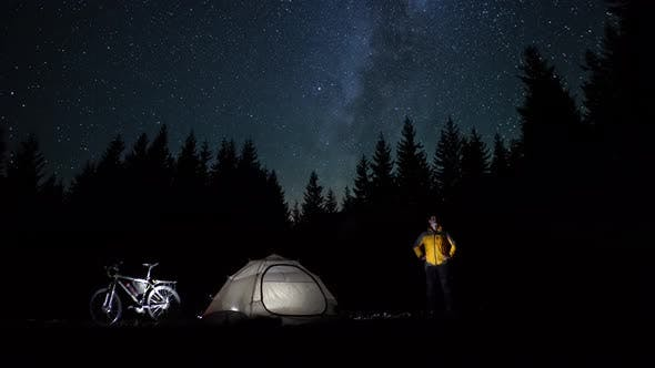 Thumbnail for Cyclist at Night in the Forest
