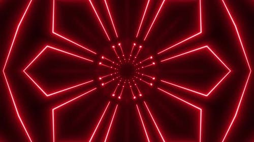 4K Neon Red Shapes Vj Pack
