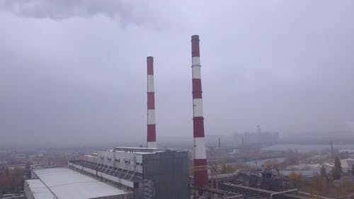 Smoke Comes From the Chimney. Aerial. Air Pollution. Ecology. Kyiv. Ukraine.