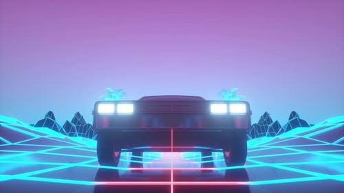 Retrofuturistic 80s Style sciFi Car Background
