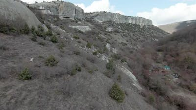 Flying in rocky gorge