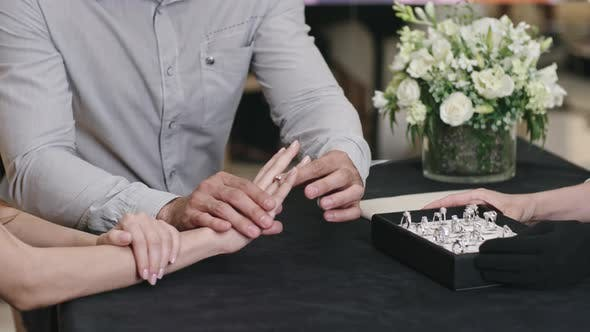 Engaged Customers in Luxury Jewelry Shop