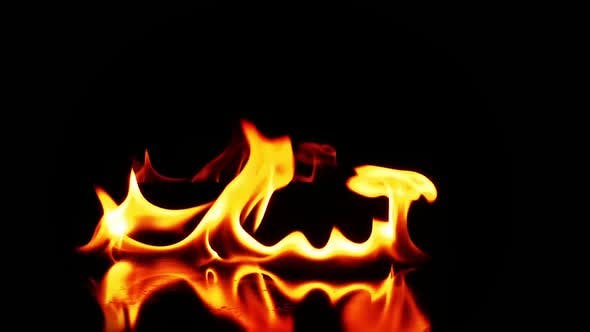 Thumbnail for Abstract Fuel Fire Burning Black Background Texture