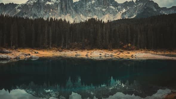 Time Lapse of Lake Carezza Western Dolomites Italy