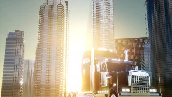 Thumbnail for Lorry Truck and Skyscrapers at Sunset