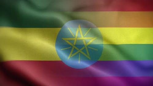 LGBT Ethiopia Flag Loop Background 4K