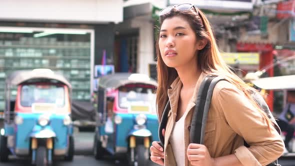 Young Tourist Walking and Sightseeing in Bangkok Thailand