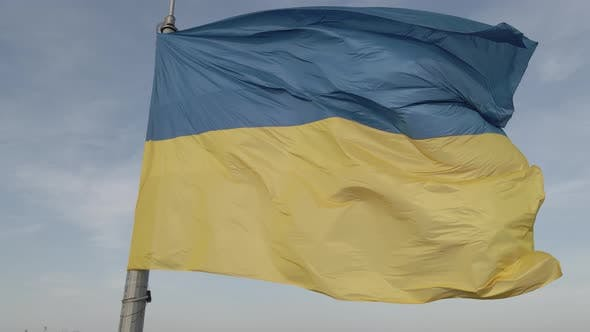 Thumbnail for Flag of Ukraine in the Wind. Kyiv. Flat, Gray