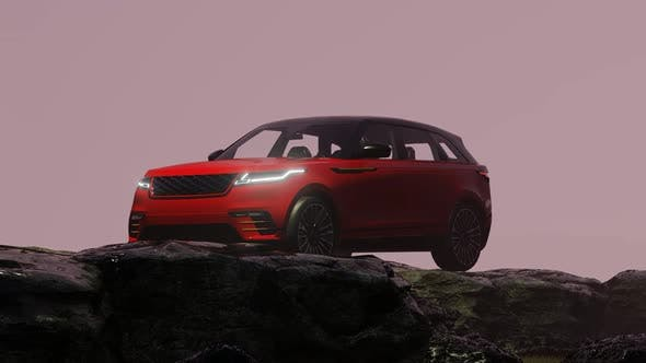 Thumbnail for Red Luxury Off-Road Vehicle Standing in Foggy Rocky Area