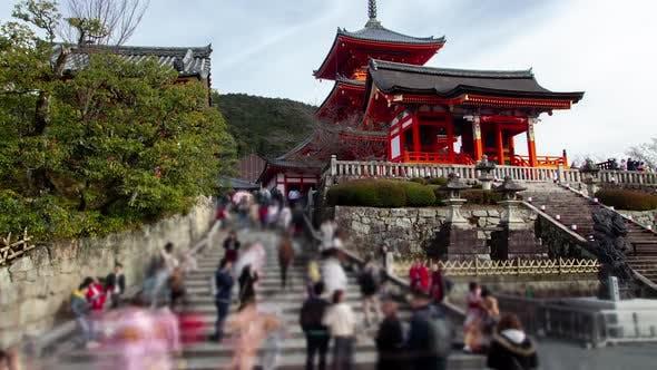 Kyoto Buddhist Temple Tourist Walk Japan Timelapse