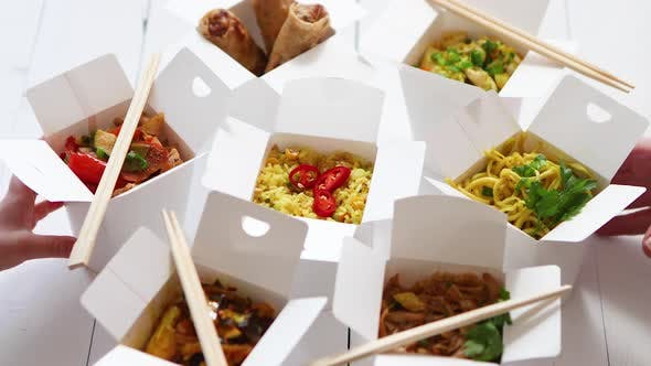Thumbnail for Various Oriental Dishes Packed in Paper Box