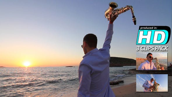 Thumbnail for Saxophonist Beach Sunset, (3-pack)