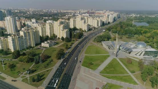 Thumbnail for Aerial View of Crossroad With Moving Cars, Residential Buildings Housing Area Minsk City Belarus