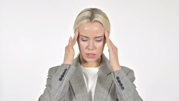 Cover Image for Businesswoman with Headache on White Background