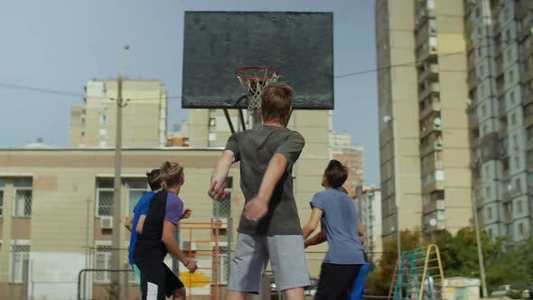 Thumbnail for Streetball Teenager Missing a Free Throw Outdoors