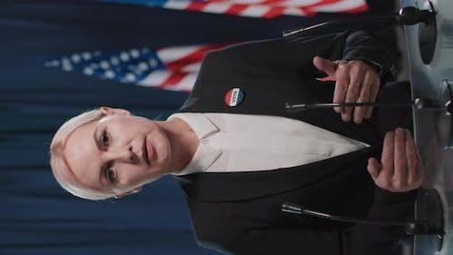 Caucasian Female Candidate Speaking