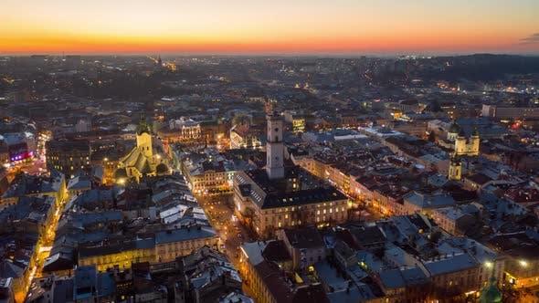 Thumbnail for Flight Above the Roofs on Sunrise. Old European City. Ukraine Lviv City