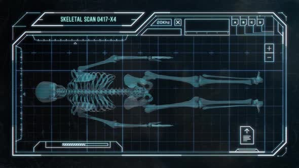 Sci-Fi Display Screen Showing a Scan of a Human Skeleton